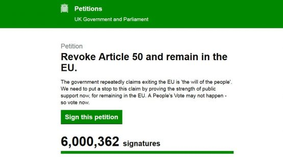 Petition to Cancel Brexit Hits 6 Million Signatures 2 Days after Original Leave Day