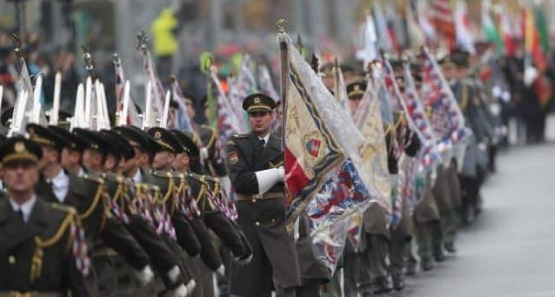 100th Anniversary since Birth of Czechoslovakia Celebrated with Military Parade in Prague