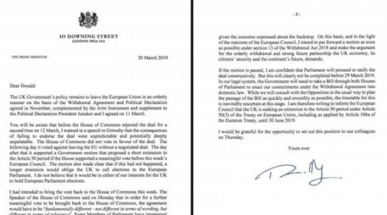 UK Prime Minister Theresa May's Brexit Delay Letter to European Council President Donald Tusk