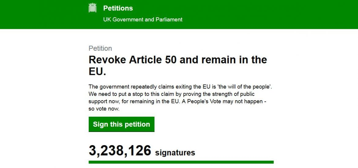 Petition to Cancel Brexit Draws 3 Million Signatures in 2 Days, Raises Hopes for New UK Referendum
